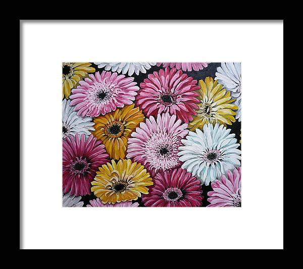 Flower Paintings Daisy Paintings Floral Paintings Blooms Color .gerbera Daisy Paintings Greeting Card Painting S Canvas Painting Poster Print Paintings Framed Print featuring the painting Gebera Daisies by Karin Dawn Kelshall- Best