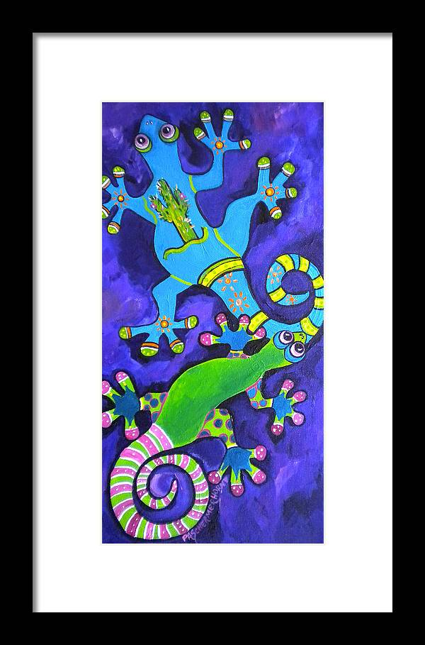 Gecko Framed Print featuring the painting Gecko's Dipped In Paint by Patti Schermerhorn