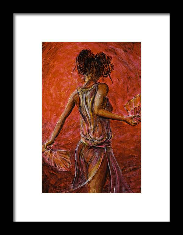 Chinese Framed Print featuring the painting Geisha Fan Dance 02 by Nik Helbig