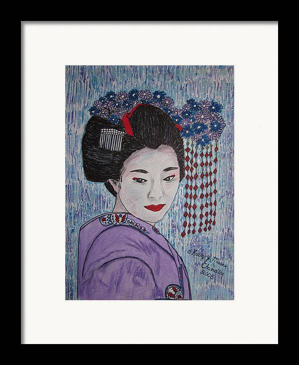 Oriental Framed Print featuring the painting Geisha Girl by Kathy Marrs Chandler