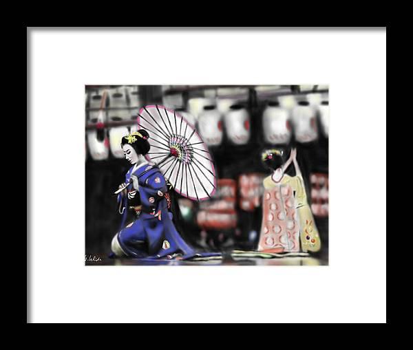 Ipad Framed Print featuring the painting Geisha No.109 by Yoshiyuki Uchida