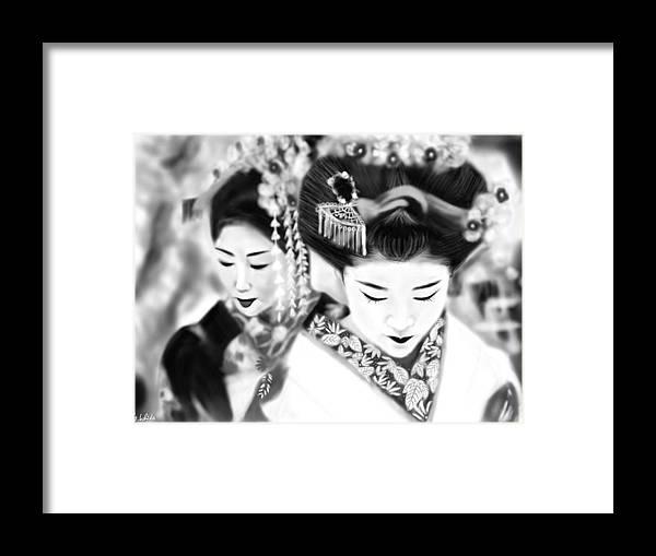Ipad Framed Print featuring the painting Geisha No.160 by Yoshiyuki Uchida