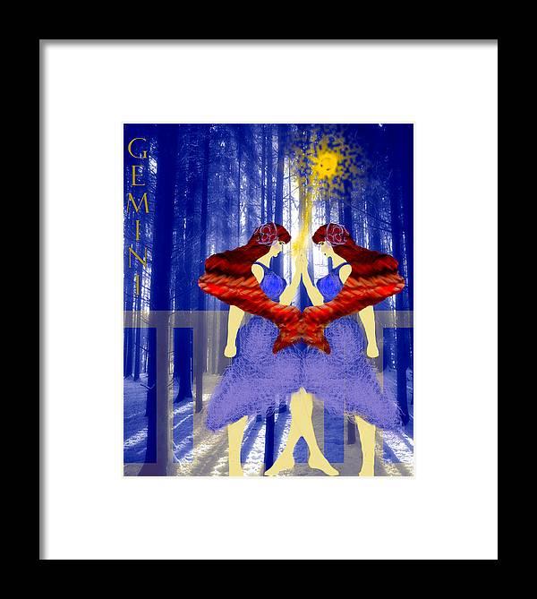 Gemini Framed Print featuring the digital art Gemini by Camille Lopez
