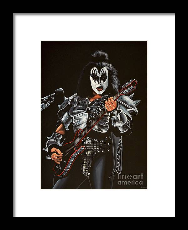 Kiss Framed Print featuring the painting Gene Simmons Of Kiss by Paul Meijering