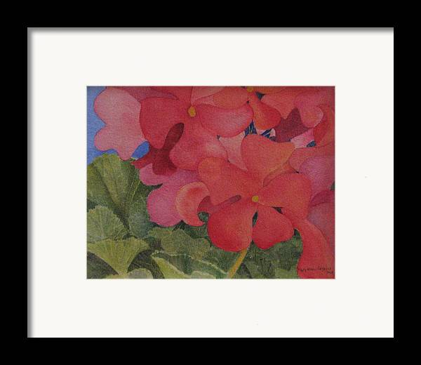 Florals Framed Print featuring the painting Generium by Mary Ellen Mueller Legault