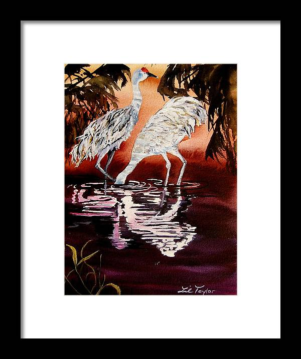 Crane Framed Print featuring the painting Gentle Sandhills by Lil Taylor