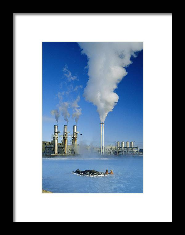 f475dee5 Outdoors Framed Print featuring the photograph Geo Thermal Power Plant In  Svartsengi (black Field)
