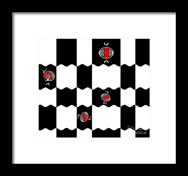 Black And White And Red Abstract Art Framed Print featuring the digital art Geometric Minimalistic Art Black White Red Abstract Print No.228. by Drinka Mercep