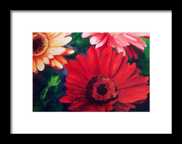 Flower Framed Print featuring the painting Gerber Daisies In Bloom by Nancy Hanrath