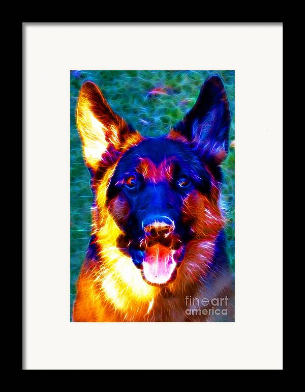 Animal Framed Print featuring the photograph German Shepard - Electric by Wingsdomain Art and Photography