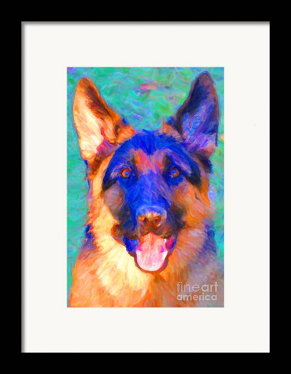 Animal Framed Print featuring the photograph German Shepard - Painterly by Wingsdomain Art and Photography