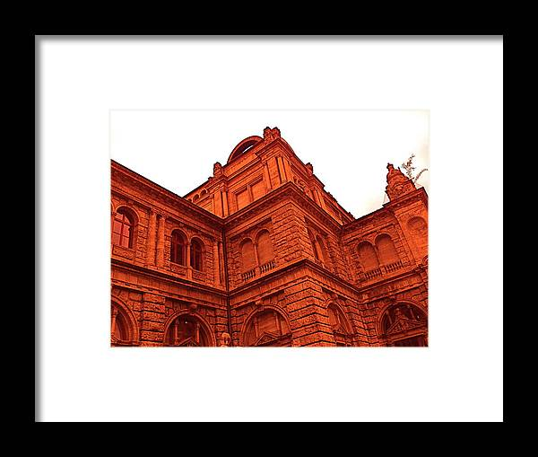 Germany Framed Print featuring the photograph German Train Station In Red by Hannah Rose