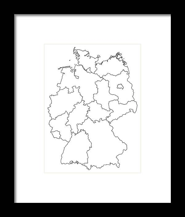 Map Of Germany Outline.Germany Outline Map With Federal States Isolated On White Background
