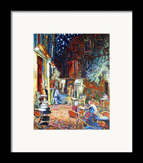 Impressionsist Spain Cafe Night Stars Van Gogh Framed Print featuring the painting Gerona by Rob White