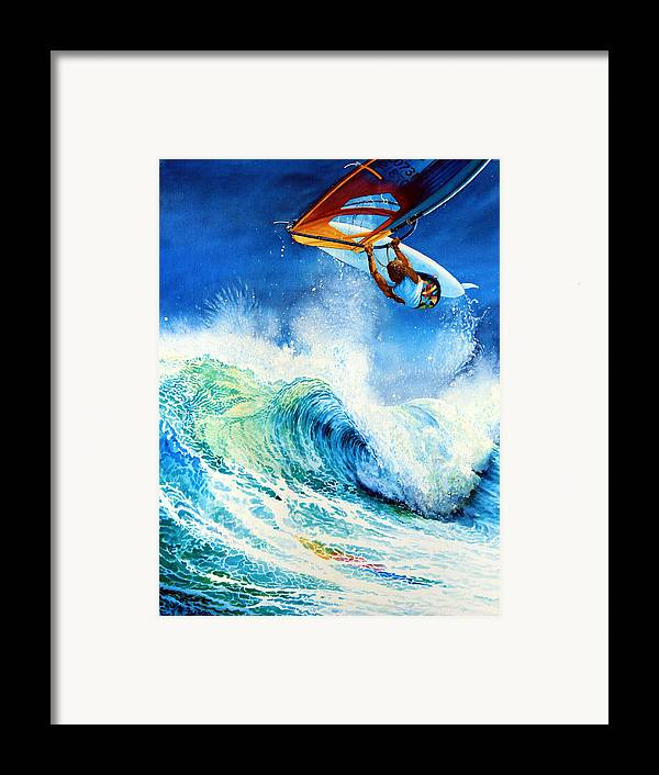 Sports Art Framed Print featuring the painting Getting Air by Hanne Lore Koehler