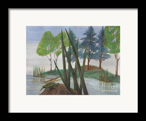 Turtle Framed Print featuring the painting Getting Some Sun by Robert Meszaros