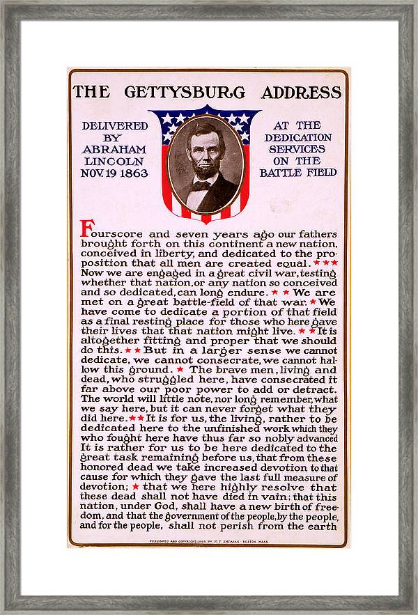 picture relating to Gettysburg Address Printable referred to as Gettysburg Go over By means of Abraham Lincoln Framed Print