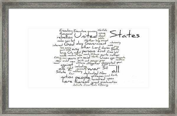 image relating to Gettysburg Address Printable named Gettysburg Protect-emancipation Proclamation-instant Inaugural Protect-term Cloud Framed Print