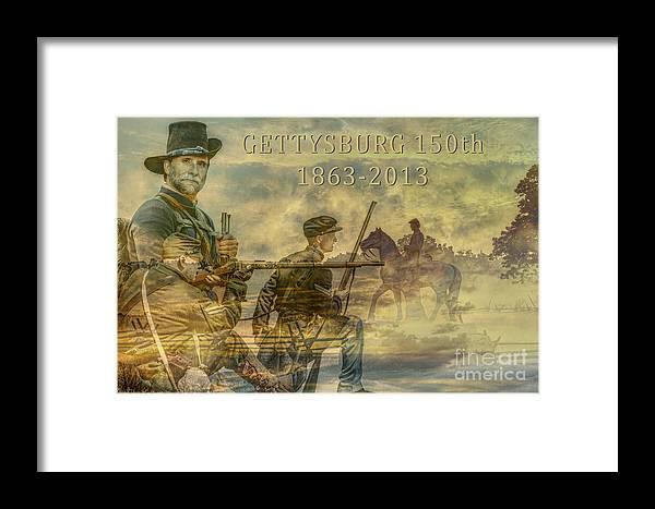 Gettysburg Anniversary 150 Years Framed Print featuring the digital art Gettysburg Anniversary 150 Years by Randy Steele