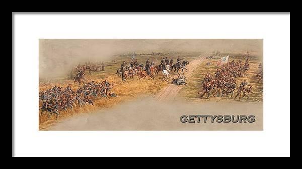 Gettysburg Cyclorama Detail Pickett's Charge Framed Print featuring the digital art Gettysburg Cyclorama Detail Pickett's Charge by Randy Steele
