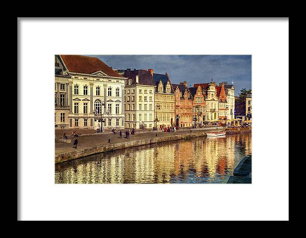 Joan Carroll Framed Print featuring the photograph Ghent Waterfront by Joan Carroll