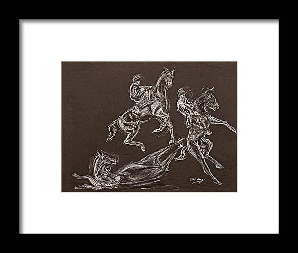Rearing Horse Framed Print featuring the drawing Ghost Riders In The Sky by Tom Conway