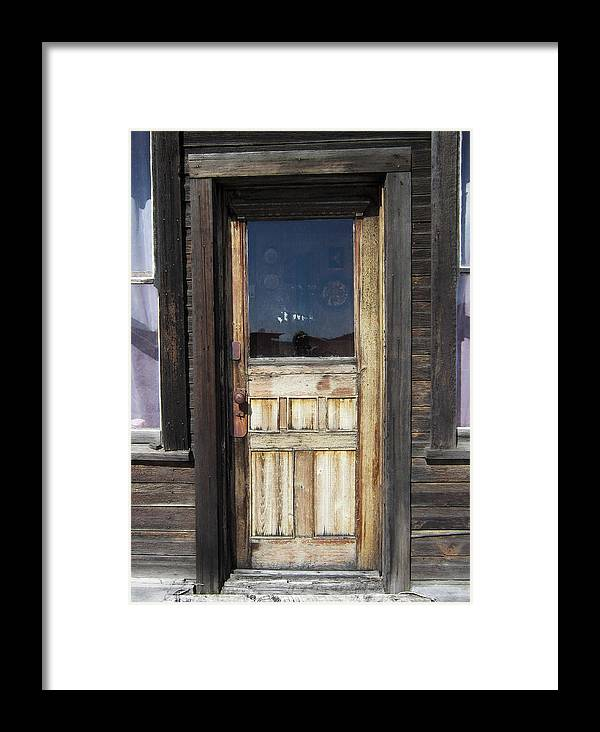 Door Framed Print featuring the photograph Ghost Town Handcrafted Door by Daniel Hagerman