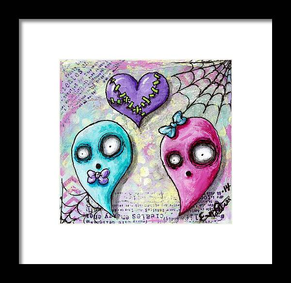 Ghosts Framed Print featuring the mixed media Ghoulfriends by Lizzy Love