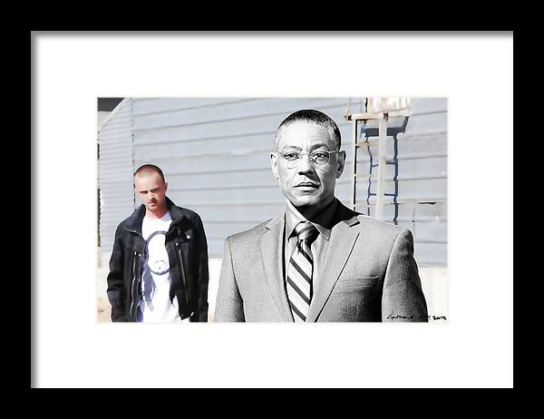 Aaron Paul Framed Print featuring the digital art Giancarlo Esposito as Gustavo Fring and Aaron Paul as Jesse Pinkman @ TV serie Breaking Bad by Gabriel T Toro