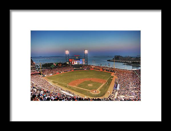Giants Stadium Framed Print featuring the photograph Giants Ballpark at Night by Shawn Everhart
