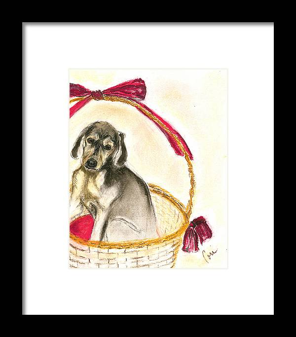 Dog Framed Print featuring the drawing Gift Basket by Cori Solomon