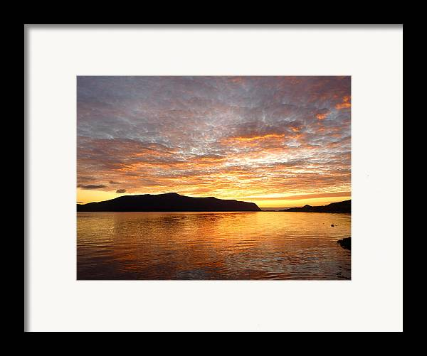 Sunset Framed Print featuring the photograph Gilded Fjord While The Sun Set Over Norwegian Mountains by David Schoenheit