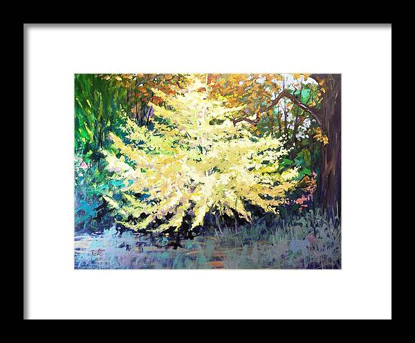Ginkgo Framed Print featuring the painting Ginkgo by Ron Lace