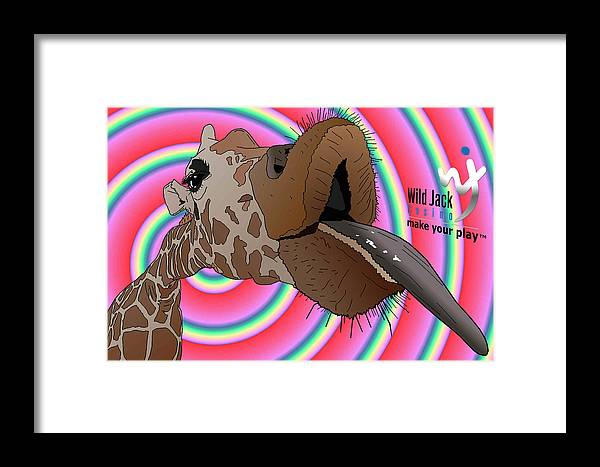 Giraffe Framed Print featuring the digital art Giraffe Lick by Yanito Freminoshi