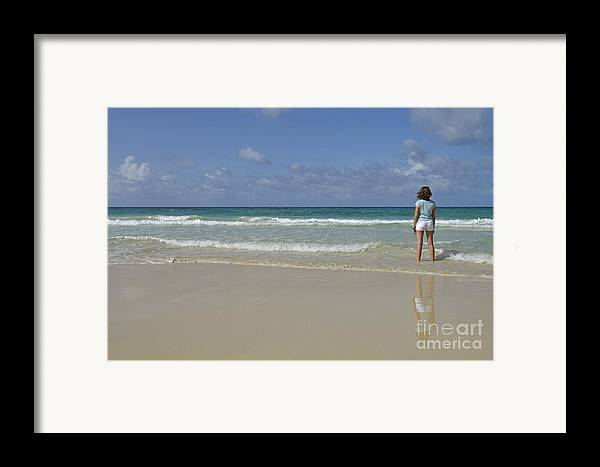 People Framed Print featuring the photograph Girl Contemplating Ocean From Beach by Sami Sarkis