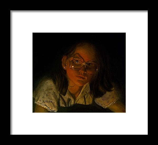 Girl Framed Print featuring the painting Girl In Glasses In Candlelight by Robert Tracy