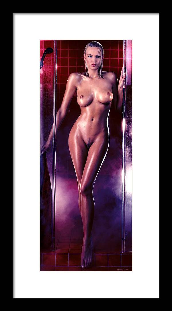 Digital Painting Framed Print featuring the digital art Girl in the shower 1 by Gabriel T Toro