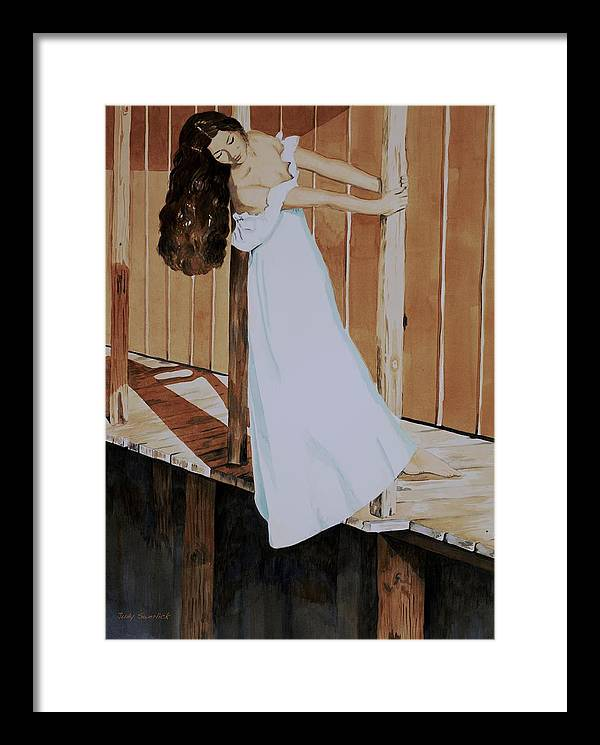 Girl On Dock Framed Print featuring the painting Girl On Dock by Judy Swerlick