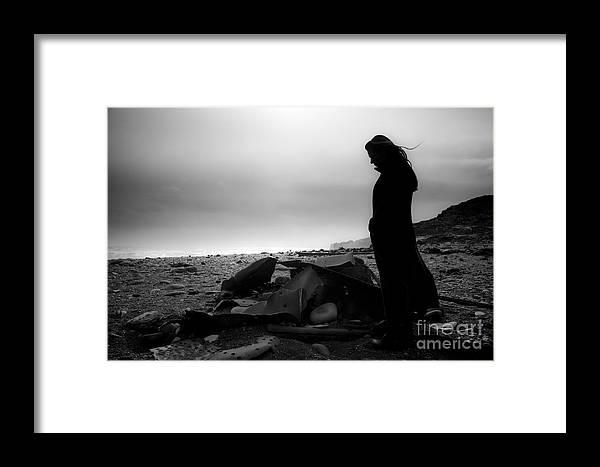 Black And White Framed Print featuring the photograph Girl On The Beach by Gunnar Orn Arnason