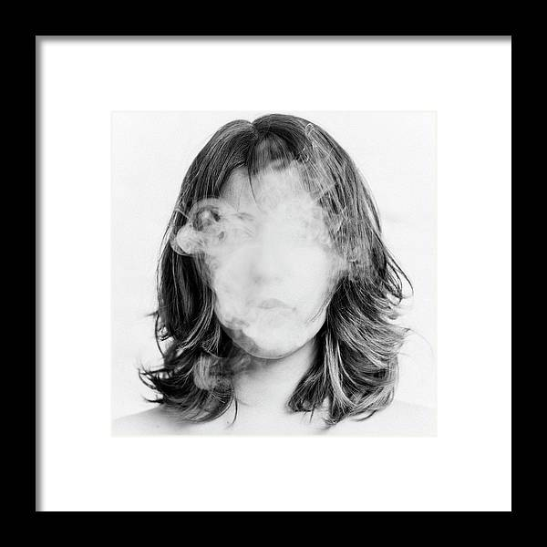 People Framed Print featuring the photograph Girl Smoking by Lita Bosch