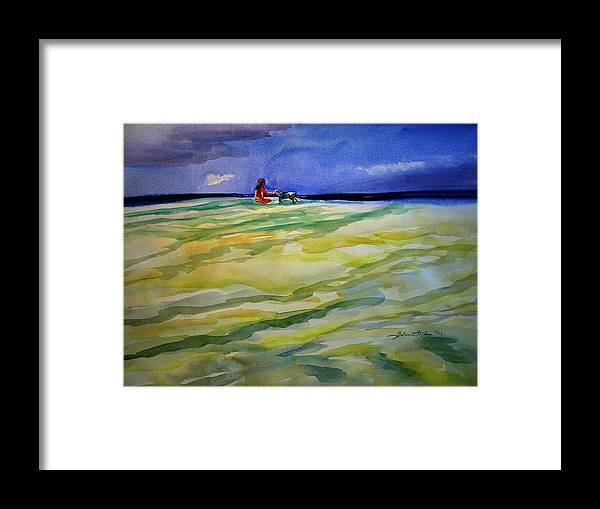 Impressionism Framed Print featuring the painting Girl With Dog On The Beach by Julianne Felton