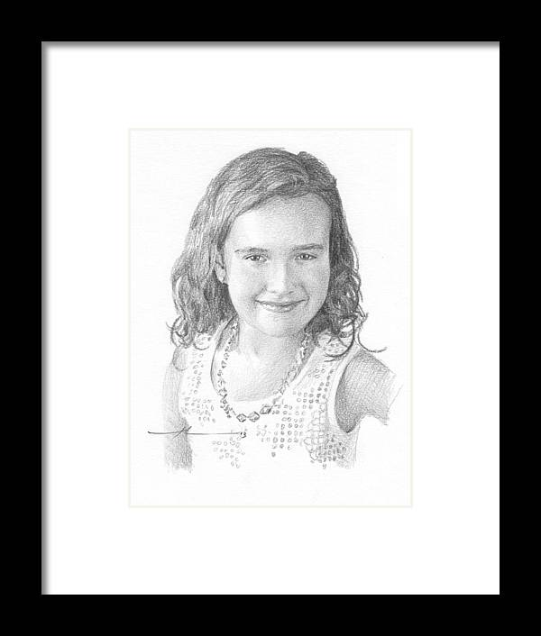 <a Href=http://miketheuer.com Target =_blank>www.miketheuer.com</a> Girl With Necklace Pencil Portrait Framed Print featuring the drawing Girl With Necklace Pencil Portrait by Mike Theuer