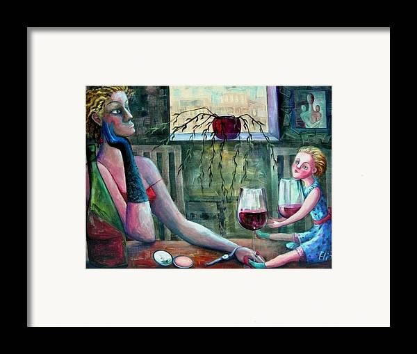 Woman Framed Print featuring the painting Girls Party by Elisheva Nesis