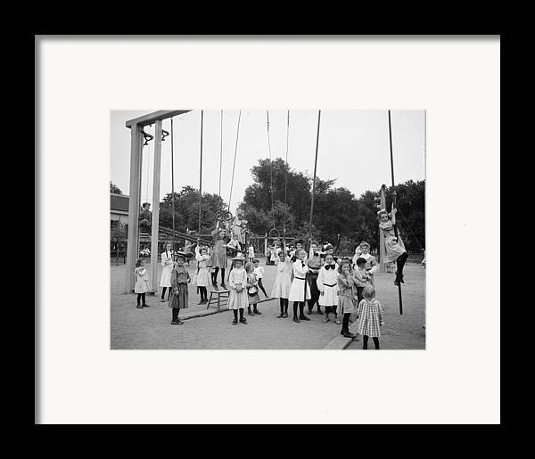 Girl Girls Children Playground Photograph Vintage 1899 Framed Print featuring the photograph Girls Playground 1899 by Steve K