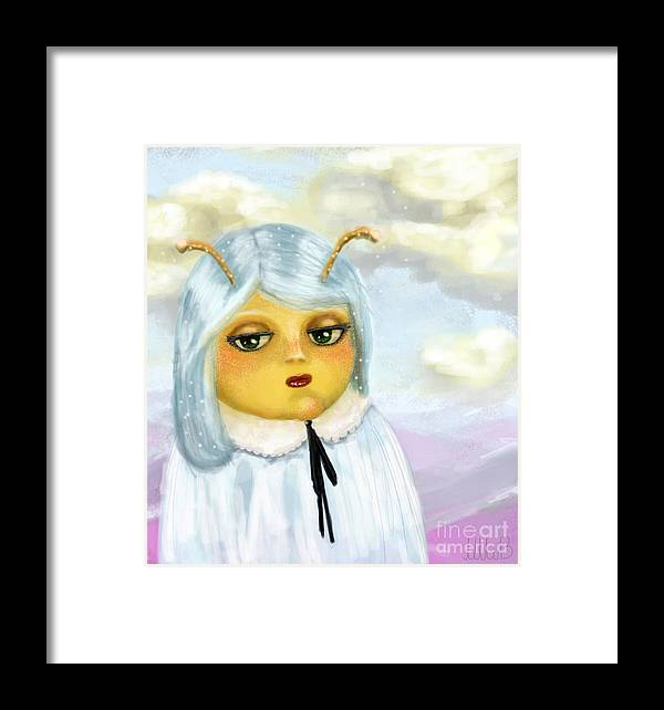 Alien Framed Print featuring the painting Gisell Is Having A Bad Day by Miss M von Baron