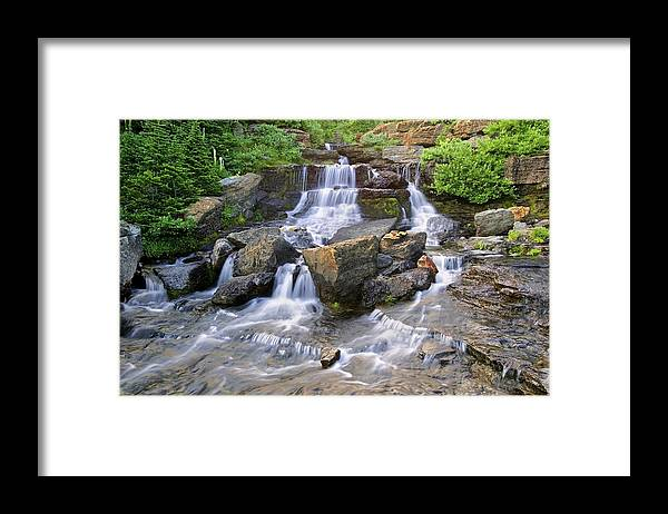 Glacier National Park Framed Print featuring the photograph Glacier Falls Glacier National Park by Rich Franco
