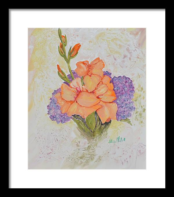 Floral Framed Print featuring the painting Gladioli And Hydrangea by Aileen McLeod
