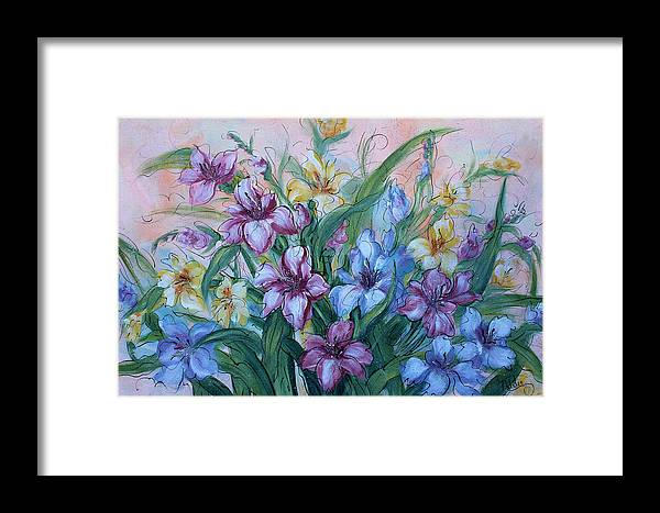 Gladiolus Framed Print featuring the painting Gladiolus by Natalie Holland