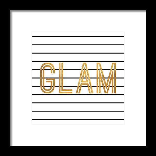 Glam Framed Print featuring the digital art Glam Pinstripe Gold by South Social Studio