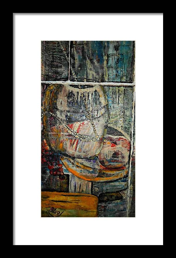 Still-life Framed Print featuring the painting Glancing through by Peggy Blood